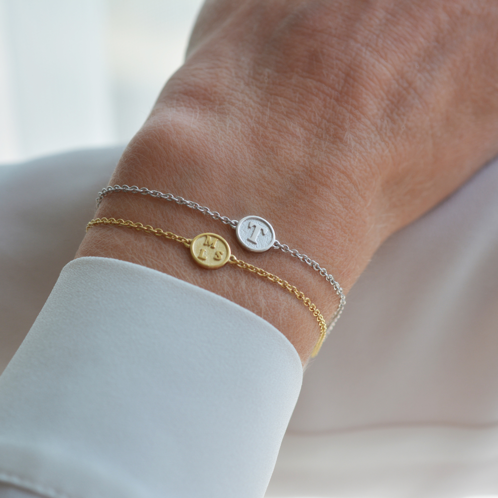 armband letters geelgoud witgoud