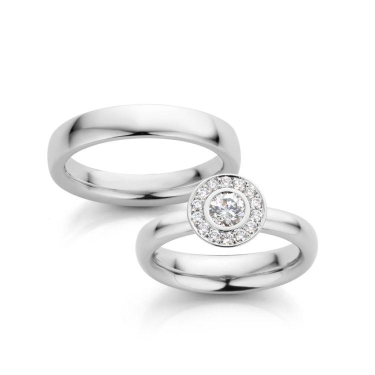 Trouwringen platina met diamant