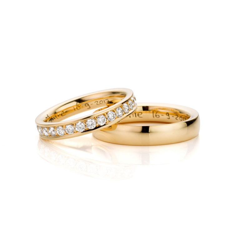 Trouwringen geelgoud diamant Alliance Ring