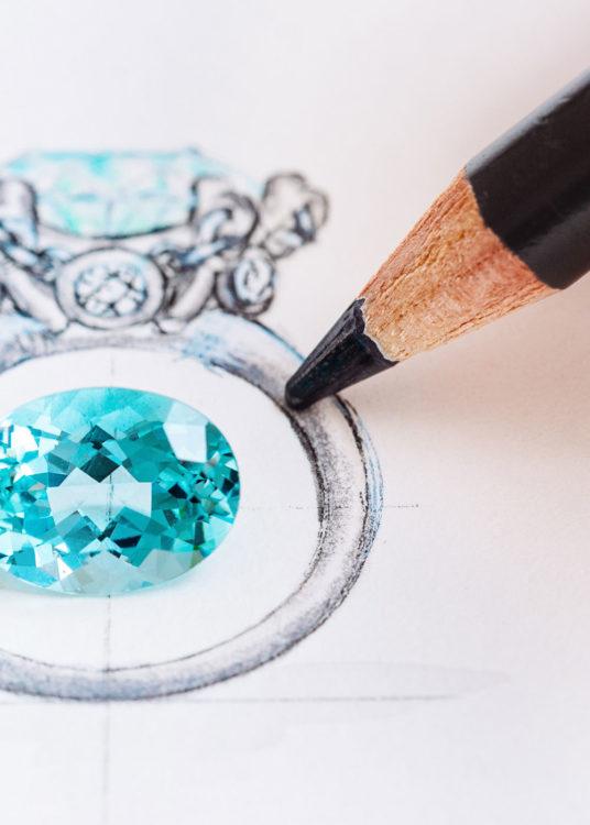 ring ontwerpen met aquamarijn