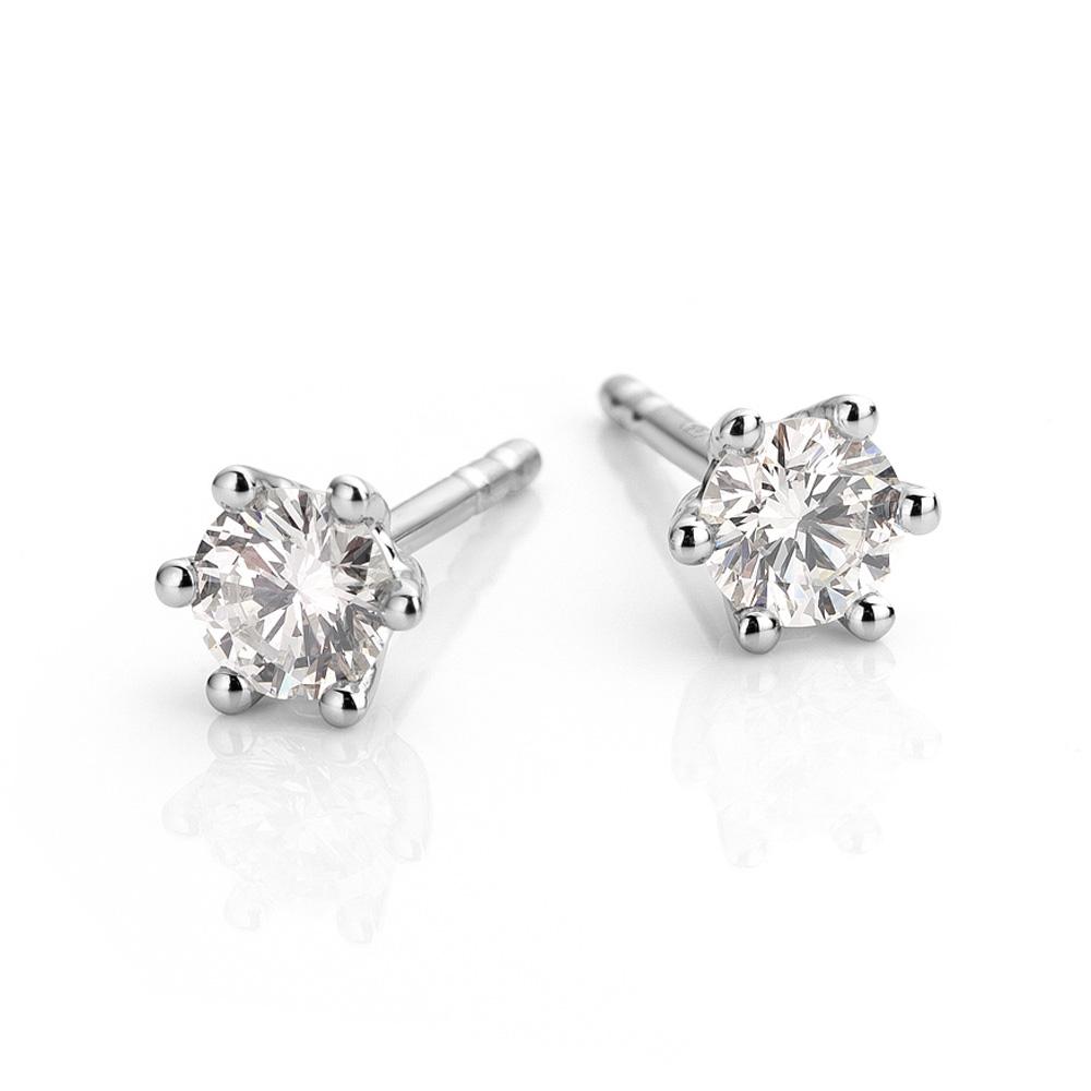 Platina oorbellen met diamant