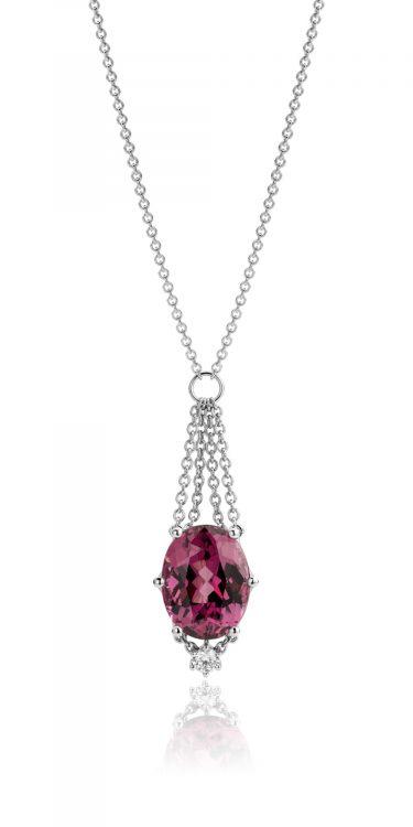 Collier in platina met rhodoliet en diamant