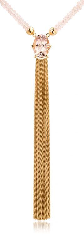 Collier 18 karaat geelgoud met morganiet