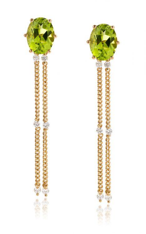 Oorbellen geelgoud met peridot en diamant