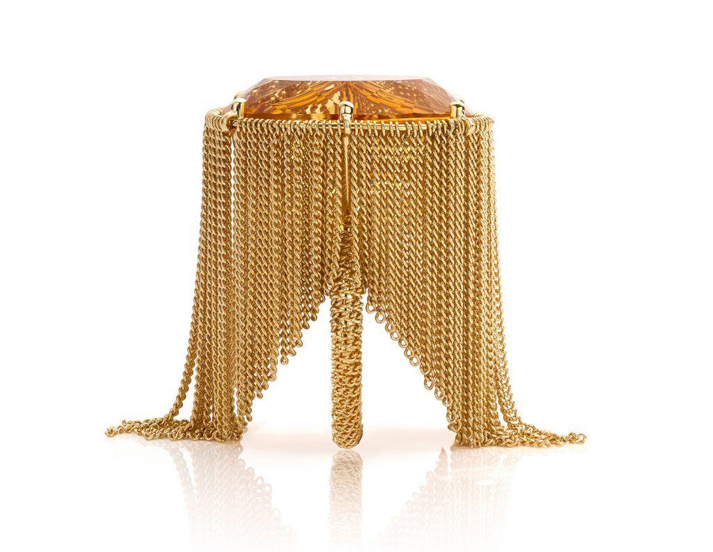 Ring geelgoud met citrien en akoya parels