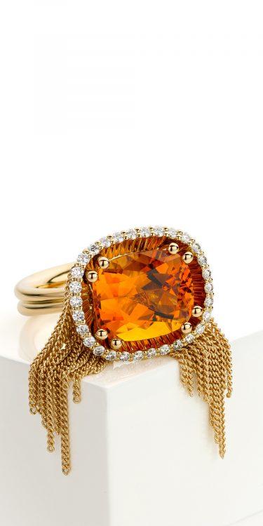 geelgouden ring met citrien en diamant
