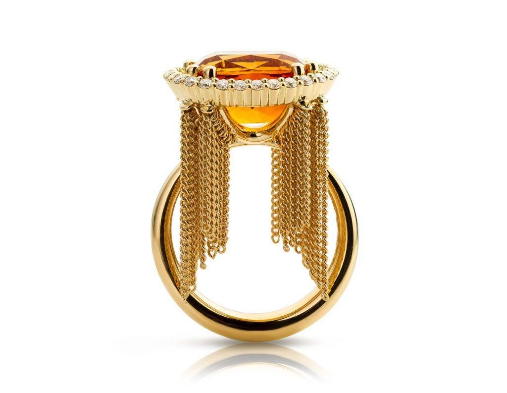 Ring geelgoud met citrien en diamanten