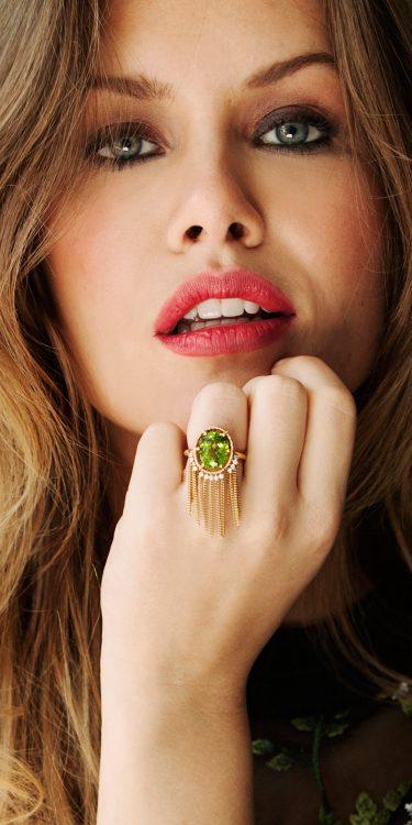 ring geelgoud met peridot