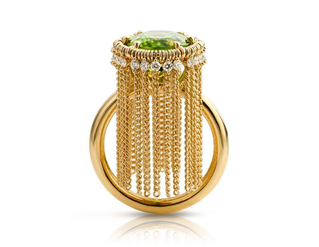 geelgouden Ring met peridot en diamant