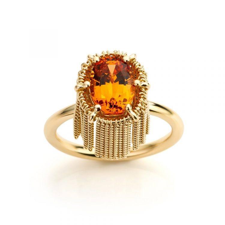 ring geelgoud met mandarijn granaat