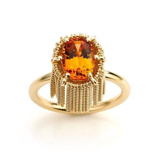 Ring met mandarijn granaat in geelgoud