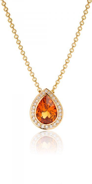 geelgouden hanger met mandarijn granaat en diamant