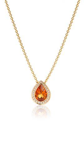 Hanger 18 karaat geelgoud met mandarijn granaat en diamant