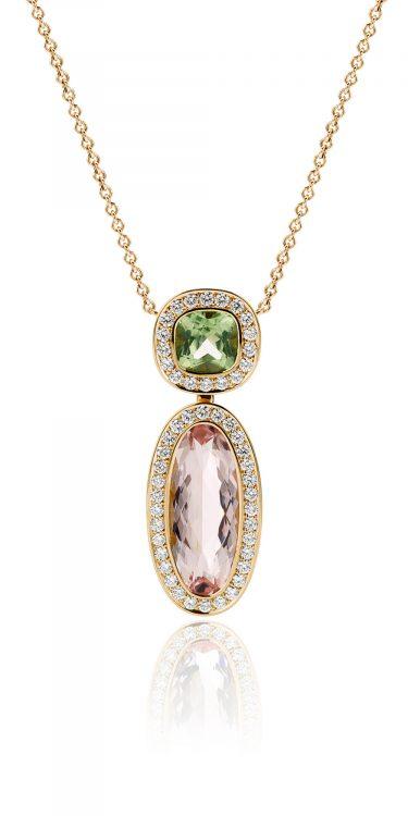 geelgouden collier met morganiet, peridot en diamant