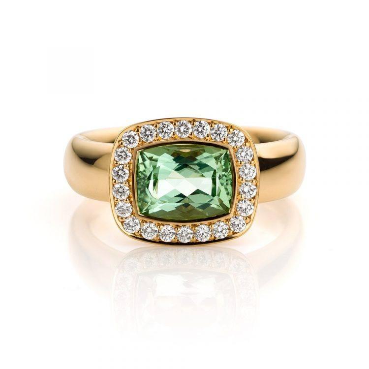 roségouden ring met groene beryll en diamant