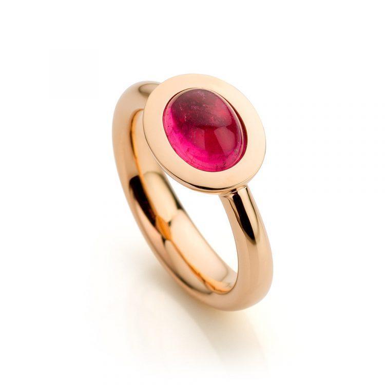 ring roségoud met roze toermalijn