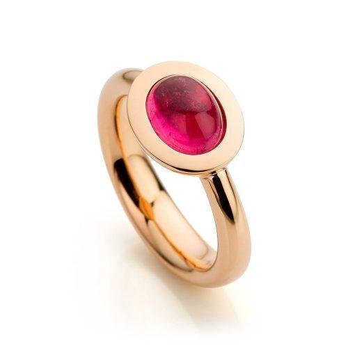 Ring 18 karaat roségoud met roze toermalijn