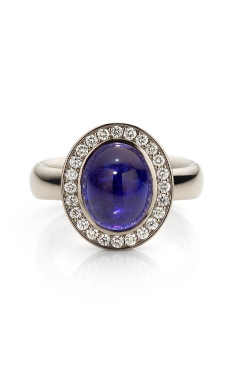 witgouden ring met tanzaniet en diamant