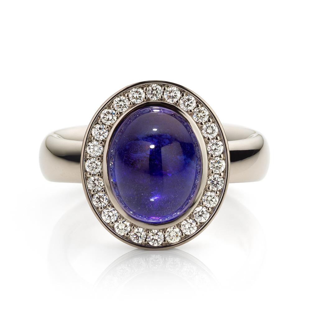 Ring met tanzaniet en diamant in witgoud