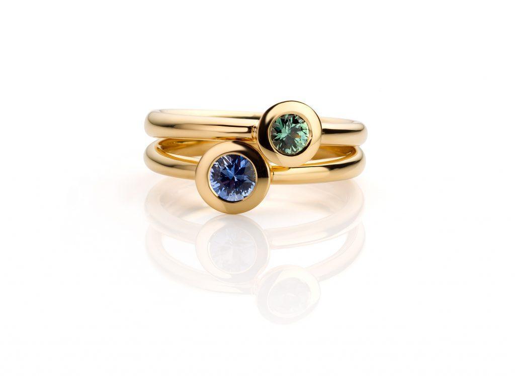 geelgouden Ringen met groene en blauwe saffier