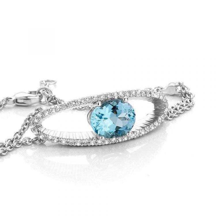 platina Armband met aquamarijn en diamant