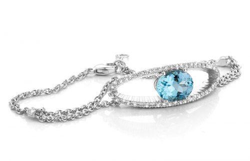 platina Armband met aquamarijn en diamanten