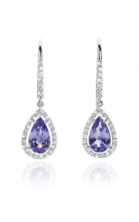 Platina oorbellen met tanzaniet en diamanten