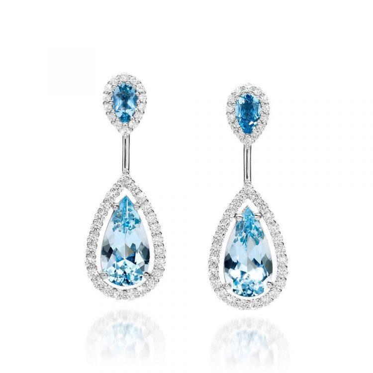 Platina oorbellen met aquamarijn en diamant