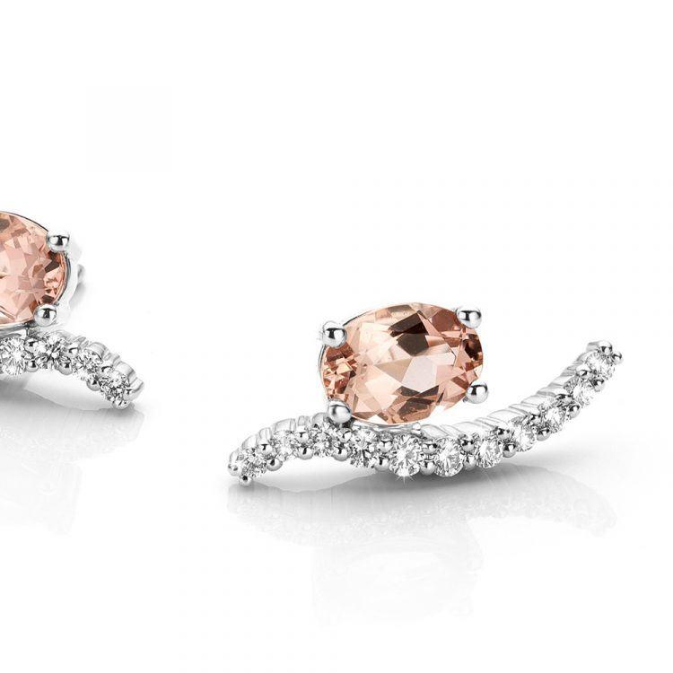 Platina oorbellen met morganiet en diamant