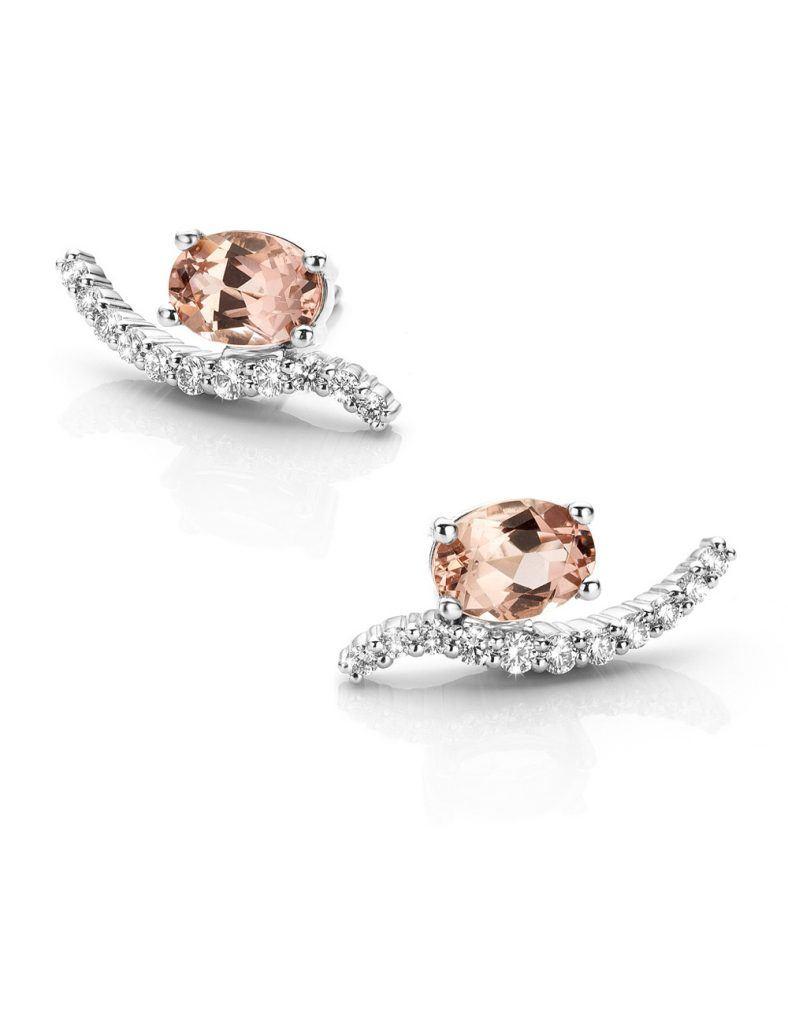 Oorbellen in platina met morganiet en diamant