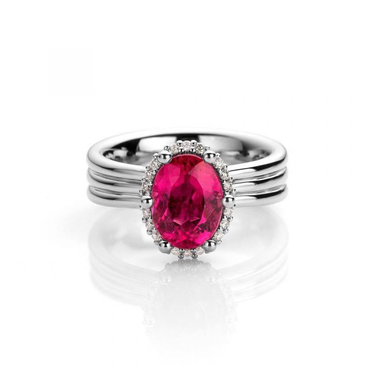 platina Ring met rubelliet en diamant