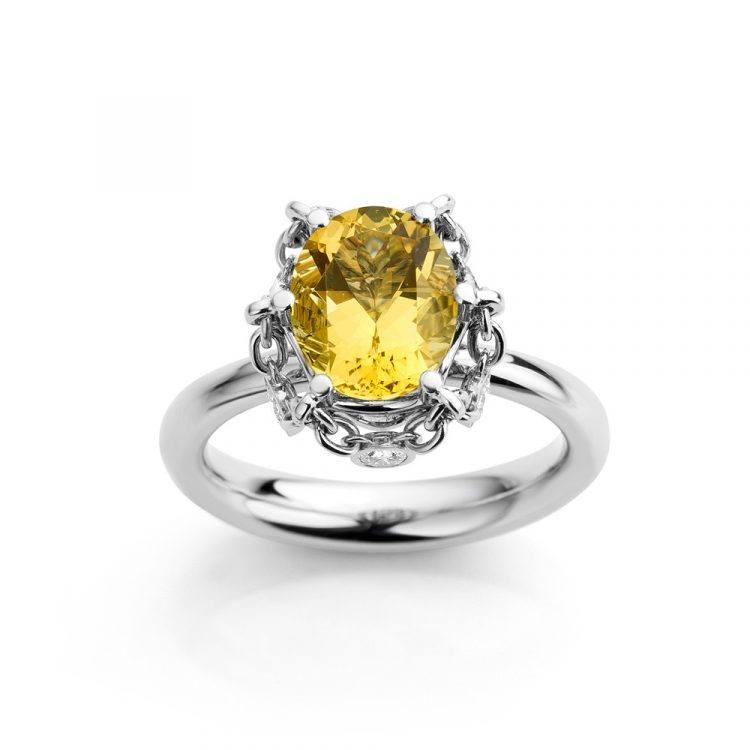 Platina ring met ovale goudberyl en diamant