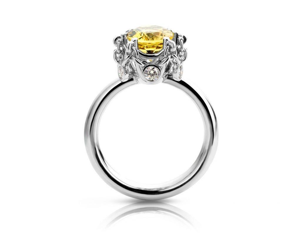 platina Ring met goudberyl en diamant