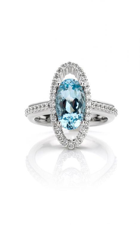 Ring platina met aquamarijn en diamanten
