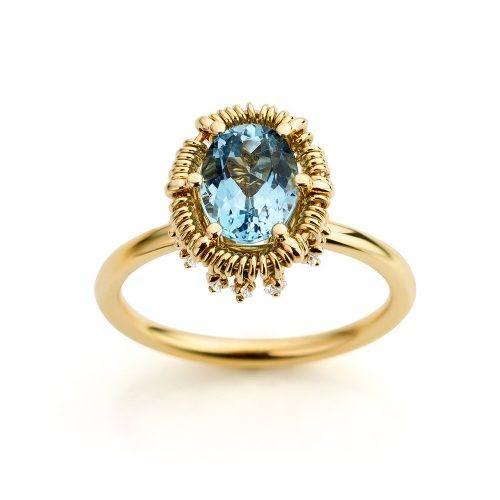 Ring geelgoud met aquamarijn en diamanten