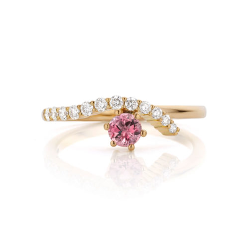 ring rosegoud met rose toermalijn en diamant